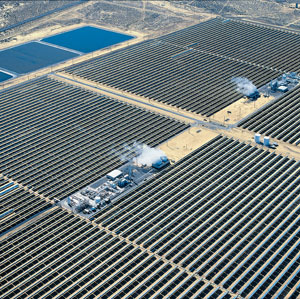 Aerial view of the parabolic trough solar power plants at Kramer Junction