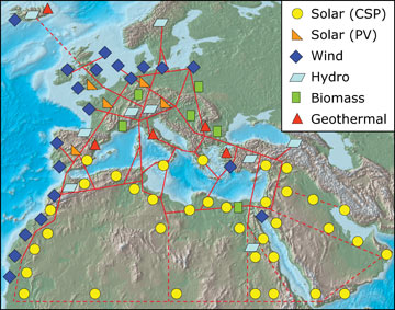 A map of TREC's vision of a sustainable energy future for Europe, the Middle East and North Africa