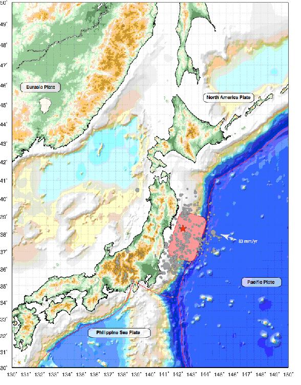 map of March 2011 earthquakes in Japan