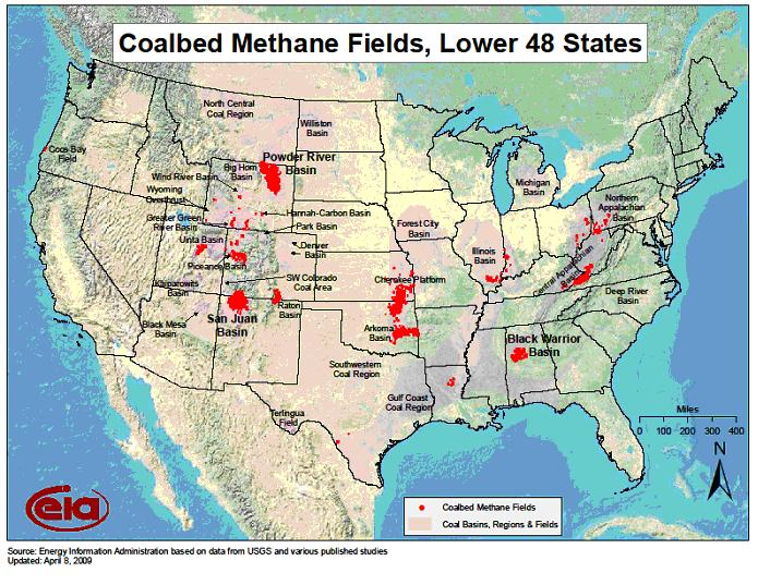Map of Coalbed Methane Fields, Lower 48 States